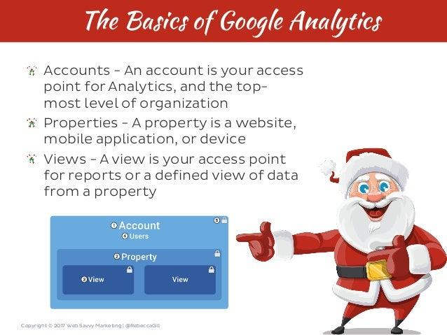 Copyright © 2017 Web Savvy Marketing   @RebeccaGill The Basics of Google Analytics Accounts - An account is your access po...