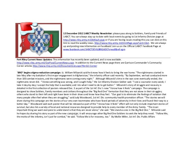 12 December 2012 1ABCT Weekly Newsletter: please pass along to Soldiers, Family and Friends of                            ...