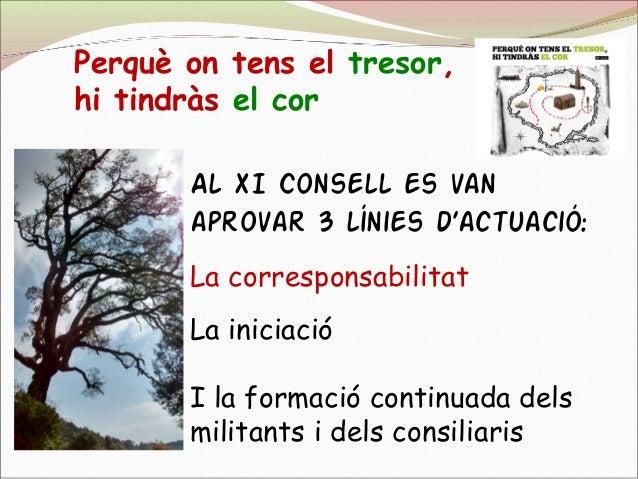 Al XI Consell es van aprovar 3 línies d'actuació: La corresponsabilitat La iniciació I la formació continuada dels militan...