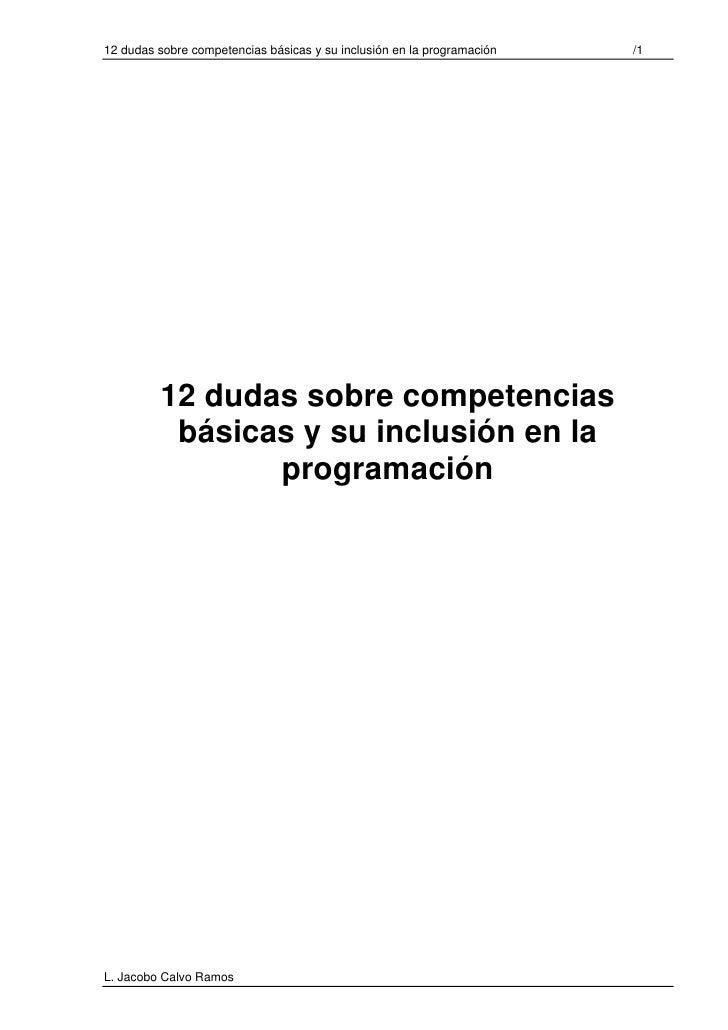 12 dudas sobre competencias básicas y su inclusión en la programación   /1              12 dudas sobre competencias       ...