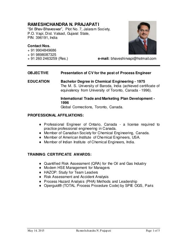... CV For Process Engineer For Oil And Gas Website. May 14, 2015  Rameshchandra N. Prajapati Page 1 Of 5 RAMESHCHANDRA N. PRAJAPATI ...