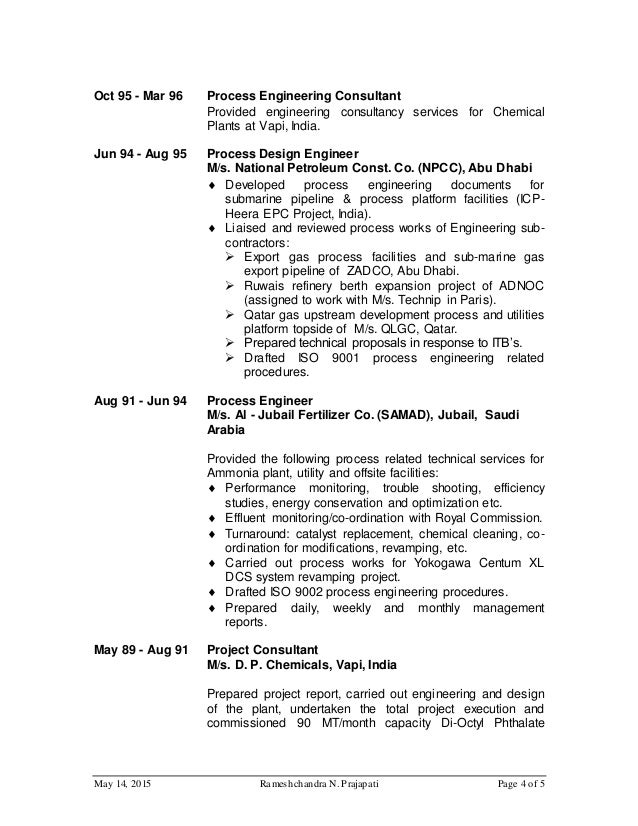 R Prajapati Cv For Process Engineer For Oil And Gas Website