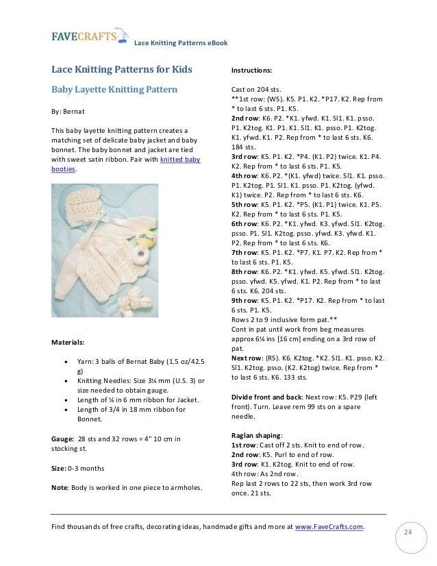 Knitting Yfwd Sl1 : Easy lace knitting patterns