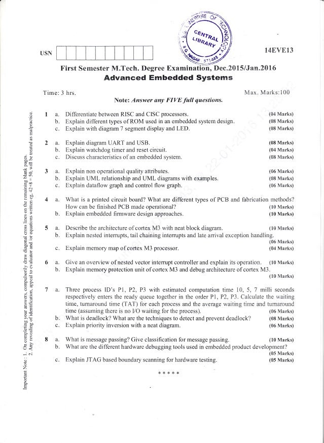 1st and 2nd Semester M Tech: VLSI Design and Embedded System (Dec-201…