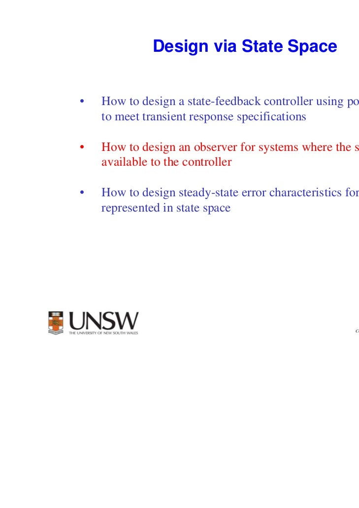 1              Design via State Space•   How to design a state-feedback controller using pole placement    to meet transie...