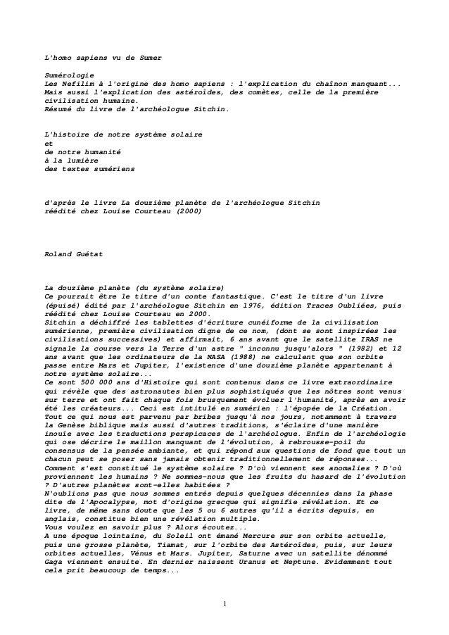 1 L'homo sapiens vu de Sumer Sumérologie Les Nefilim à l'origine des homo sapiens : l'explication du chaînon manquant... M...
