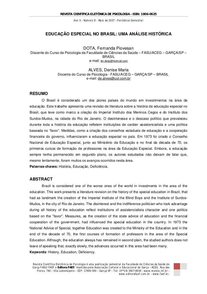 REVISTA CIENTÍFICA ELETÔNICA DE PSICOLOGIA – ISSN: 1806-0625                                  Ano V – Número 8 – Maio de 2...