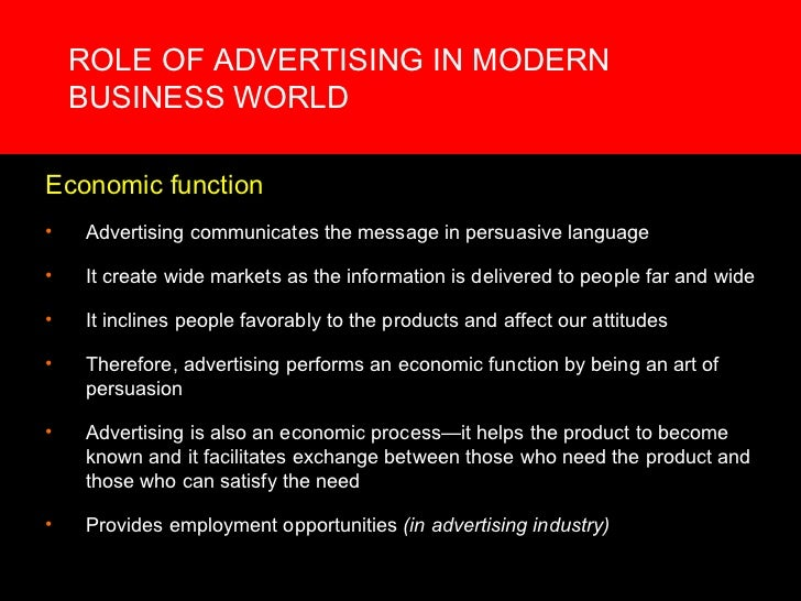 role of advertisement in modern world