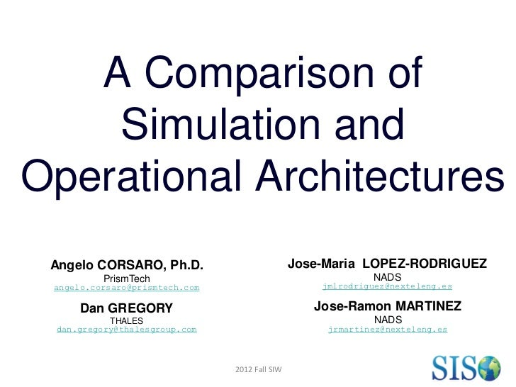 A Comparison of    Simulation andOperational Architectures Angelo CORSARO, Ph.D.                          Jose-Maria LOPEZ...