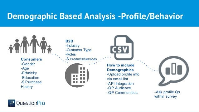 Demographic Based Analysis -Profile/Behavior Consumers -Gender -Age -Ethnicity -Education -$ Purchase History B2B -Industr...