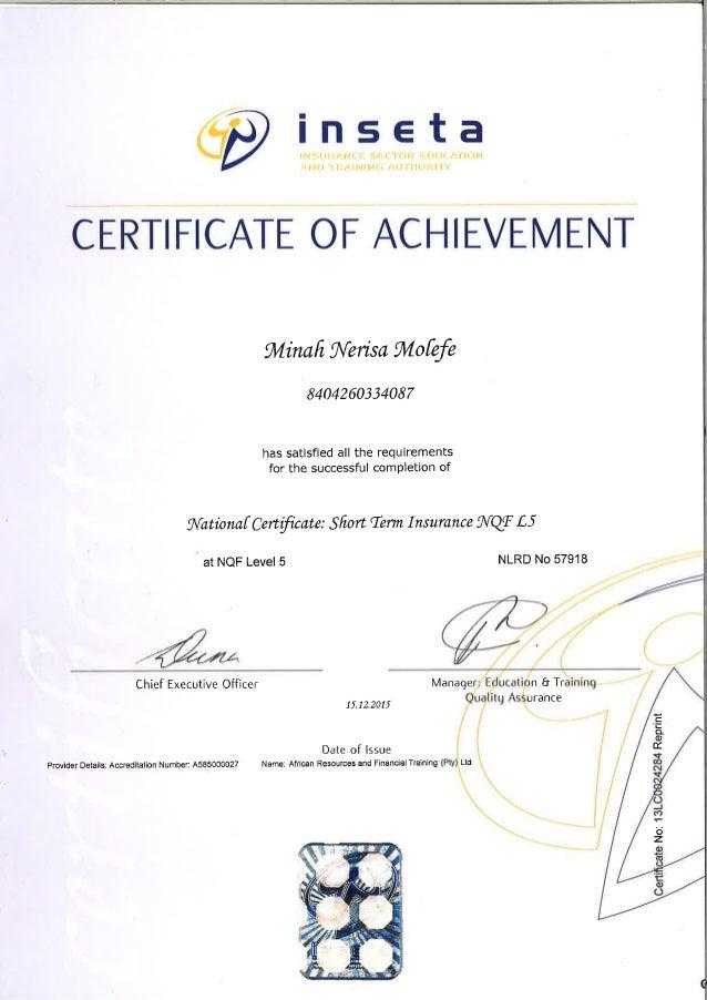inseta - short term level 5 national certificate
