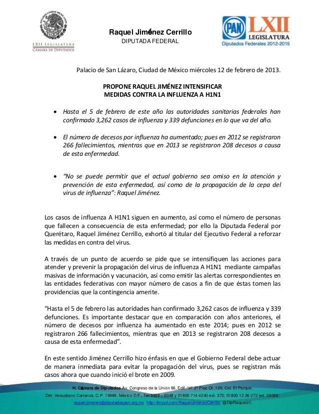 Del. Venustiano  Raquel Jiménez Cerrillo DIPUTADA FEDERAL  Palacio de San Lázaro, Ciudad de México miércoles 12 de febrero...