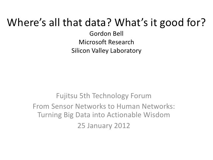 Where's all that data? What's it good for?                      Gordon Bell                  Microsoft Research           ...