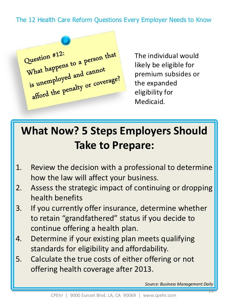 The Twelve Health Care Reform Questions Every Employer ...