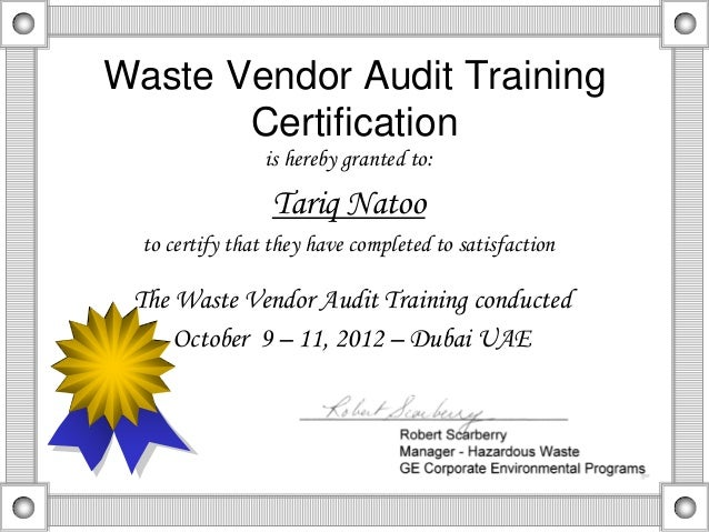 Waste Vendor Auditor Certificate