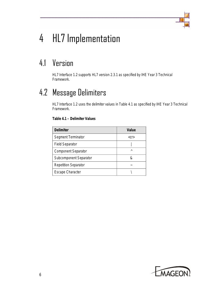1.2 Hl7 Interface Specification