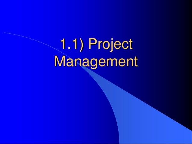 1.1) ProjectManagement