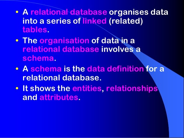 • A relational database organises data  into a series of linked (related)  tables.• The organisation of data in a  relatio...