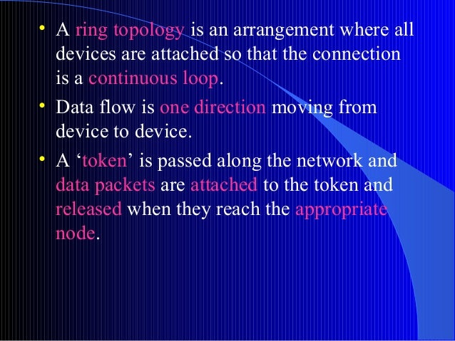 • A ring topology is an arrangement where alldevices are attached so that the connectionis a continuous loop.• Data flow i...