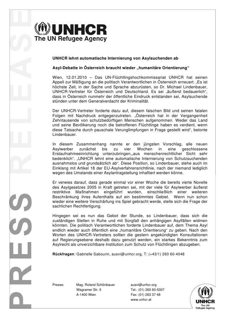 """UNHCR lehnt automatische Internierung von Asylsuchenden ab  Asyl-Debatte in Österreich braucht wieder """"humanitäre Orientie..."""