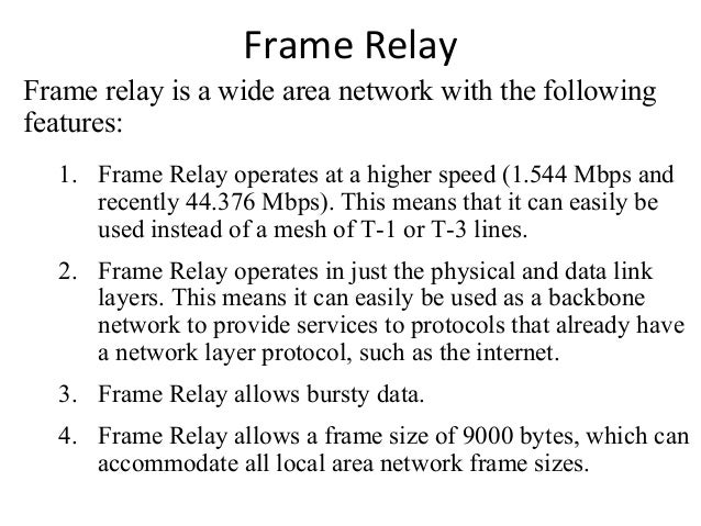 Topic : X.25, Frame relay and ATM