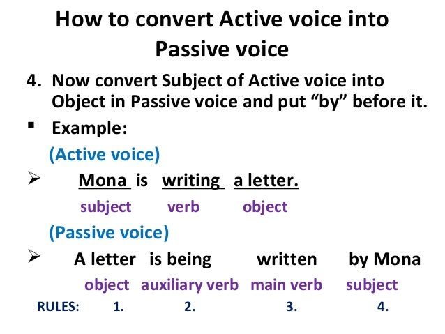 passive voice and experimental aircraft association What are the passive voice rules to make a sentence passive, we do three things: move the object of the sentence, and make it the subject you then have a passive voice verb remember to keep the tense the same active.