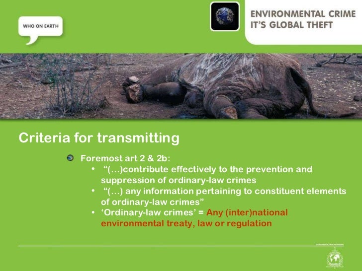 environmental crimes Environmental crimes unicri considers environmental crime, including its links with other forms of crime, a serious and growing danger for development, global stability and international.