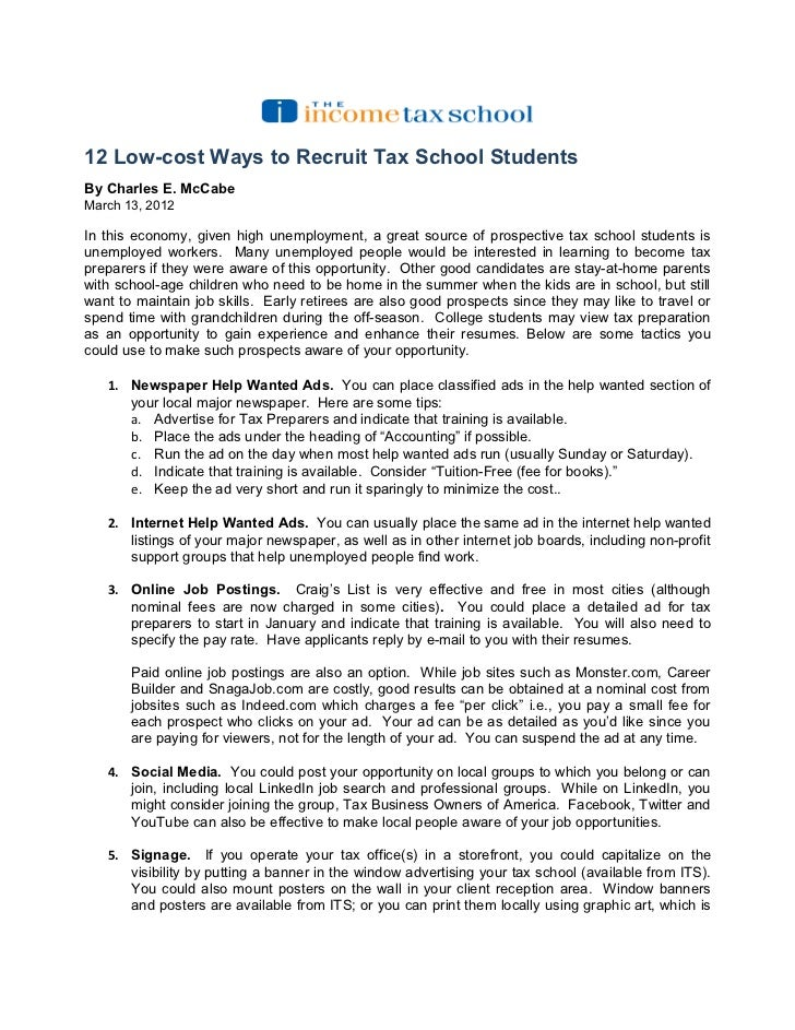 12 Low Cost Ways To Recruit Tax School Students