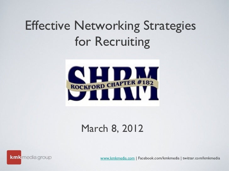 Effective Networking Strategies          for Recruiting          March 8, 2012              www.kmkmedia.com | Facebook.co...