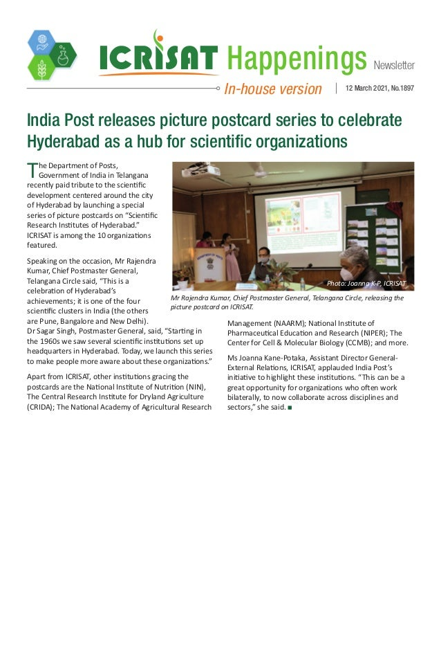 Newsletter Happenings In-house version 12 March 2021, No.1897 India Post releases picture postcard series to celebrate Hyd...