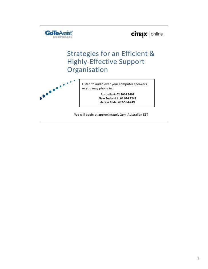 StrategiesforanEfficient& Highly‐EffectiveSupport Organisation        Listentoaudiooveryourcomputerspeakers ...