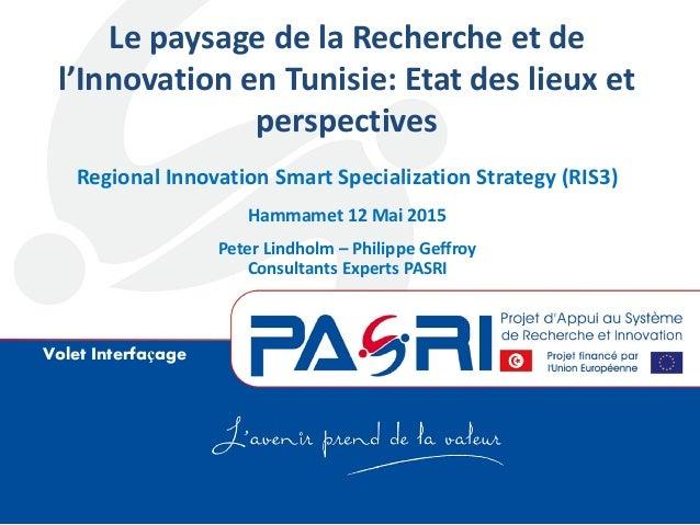 Volet Interfaçage Le paysage de la Recherche et de l'Innovation en Tunisie: Etat des lieux et perspectives Regional Innova...