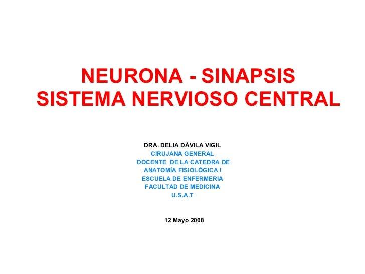 NEURONA - SINAPSIS SISTEMA NERVIOSO CENTRAL DRA. DELIA DÁVILA VIGIL CIRUJANA GENERAL DOCENTE  DE LA CATEDRA DE ANATOMÍA FI...