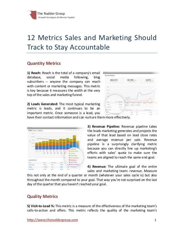 The Rudder Group       Growth Strategies & Mentor Capital12 Metrics Sales and Marketing ShouldTrack to Stay AccountableQua...