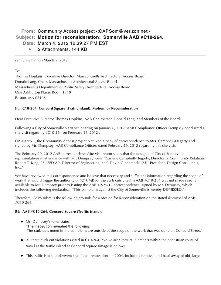 From: Community Access project <CAPSom@verizon.net>Subject: Motion for reconsideration: Somerville AAB #C10-264.   Date: M...