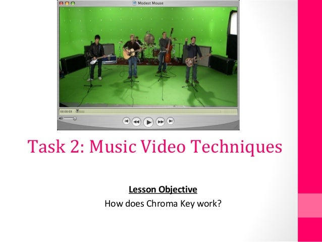 Task 2: Music Video Techniques Lesson Objective How does Chroma Key work?