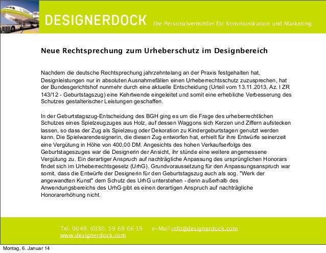 ∂  Die Personalvermittler für Kommunikation und Marketing  Neue Rechtsprechung zum Urheberschutz im Designbereich Nachdem ...