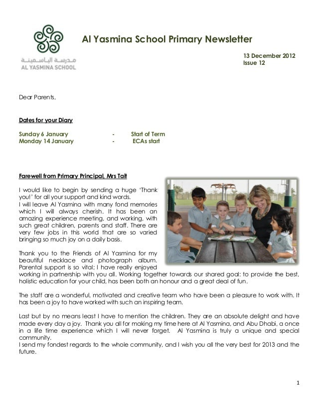 Al Yasmina School Primary Newsletter                                                                               13 Dece...