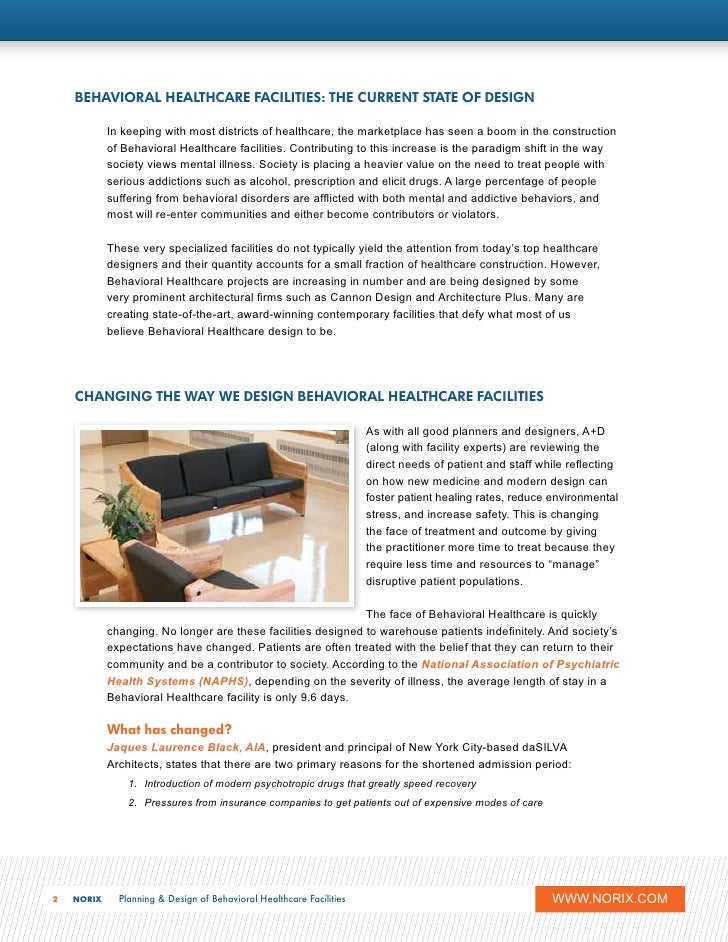 Planning And Design Of Behavioral Healthcare Facilities