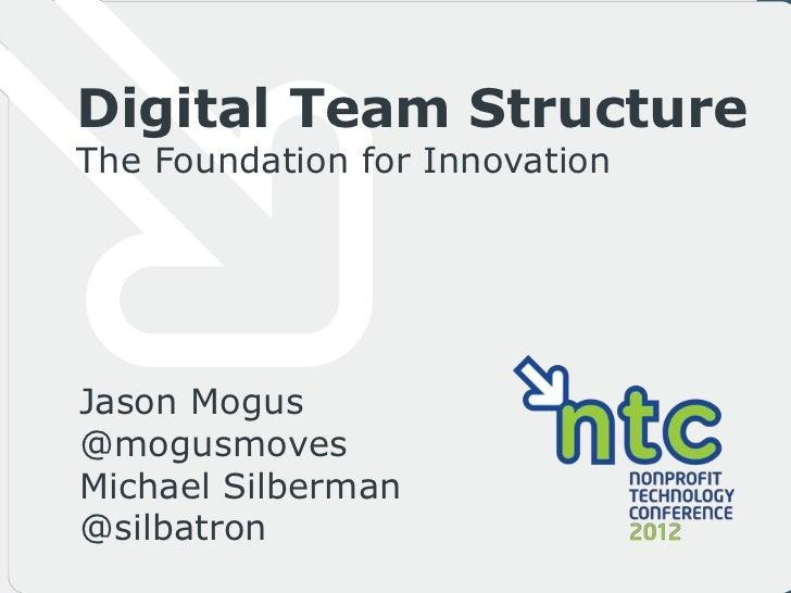 Digital Team StructureThe Foundation for InnovationJason Mogus@mogusmovesMichael Silberman@silbatron
