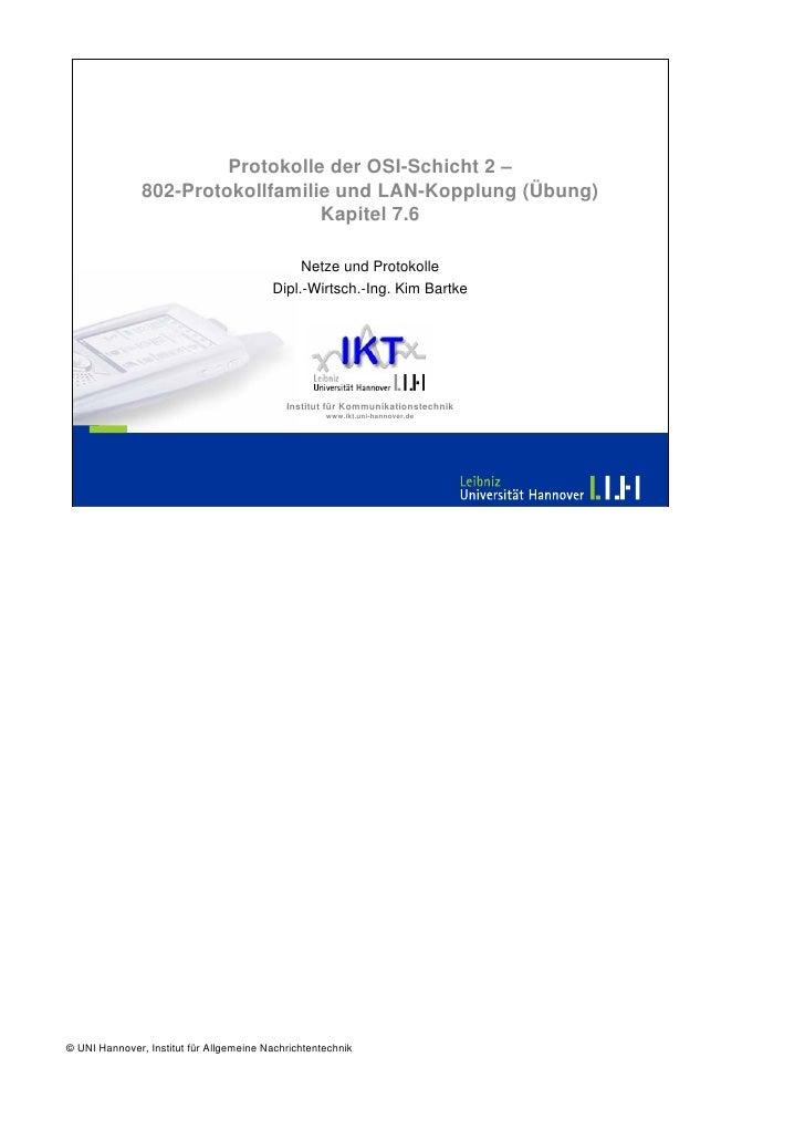 Protokolle der OSI-Schicht 2 –                802-Protokollfamilie und LAN-Kopplung (Übung)                               ...