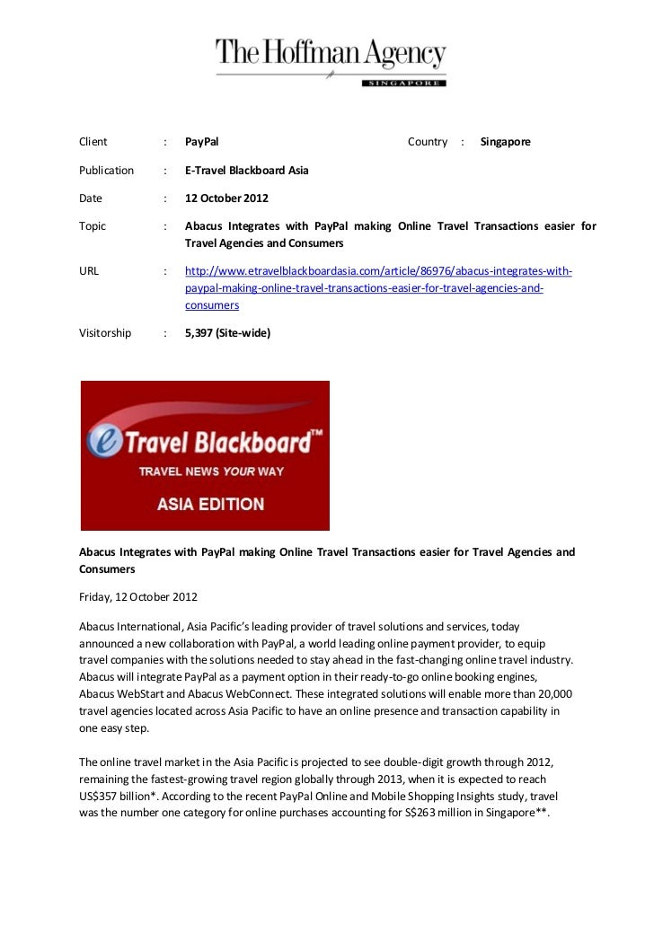 Client           :   PayPal                                        Country    :   SingaporePublication      :   E-Travel B...