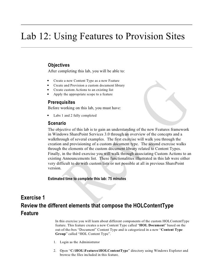Lab 12: Using Features to Provision Sites            Objectives           After completing this lab, you will be able to: ...