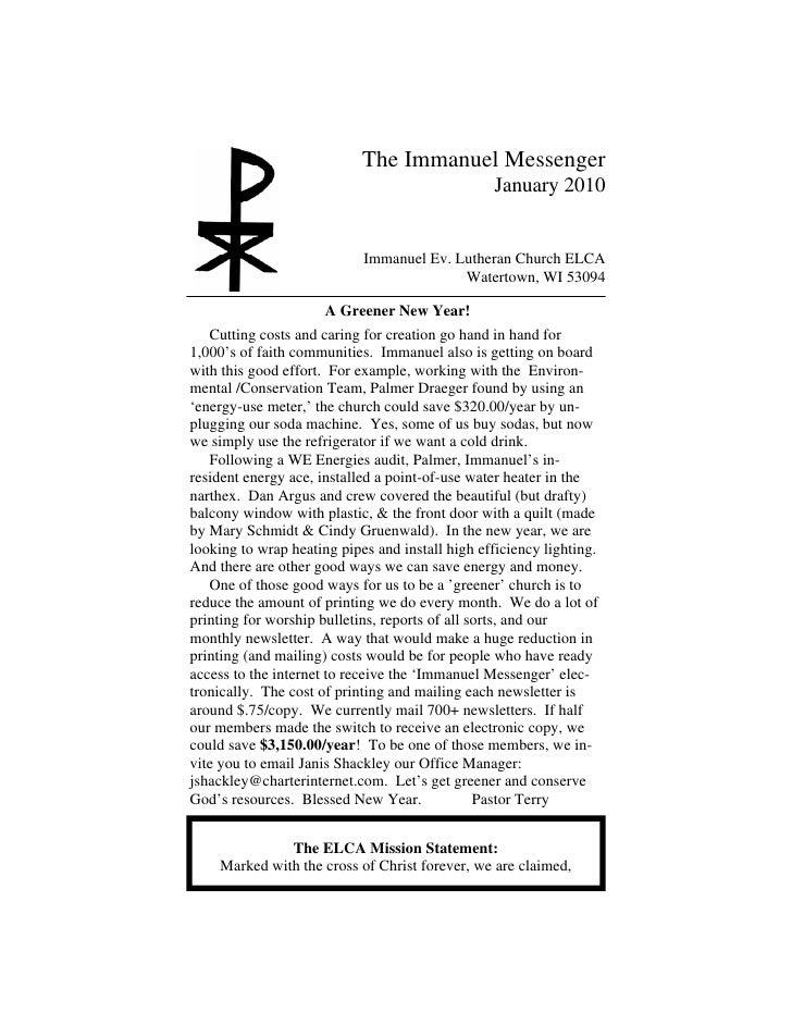 The Immanuel Messenger                                                  January 2010                               Immanue...