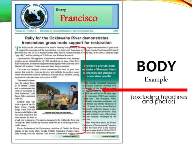 7. BODY Example ...  Example Of A News Letter