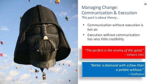 11 ManagingChange WhatisaCultureofTransparency? Inourgroup/team/orgculture… § Weallknowwhoweareandwhatwe...