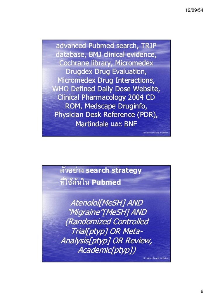 12/09/54 advanced Pubmed search, TRIP database, BMJ clinical evidence,  Cochrane library, Micromedex    Drugdex Drug Evalu...
