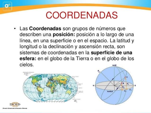 COORDENADAS • Las Coordenadas son grupos de números que describen una posición: posición a lo largo de una línea, en una s...