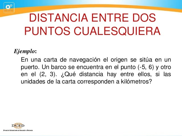 DISTANCIA ENTRE DOS PUNTOS CUALESQUIERA Ejemplo: En una carta de navegación el origen se sitúa en un puerto. Un barco se e...