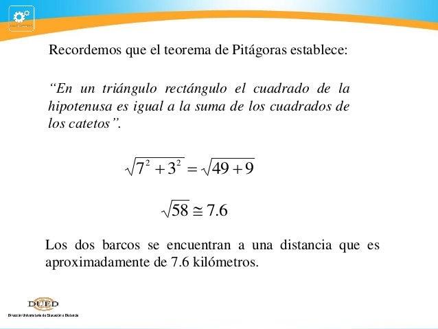 """Recordemos que el teorema de Pitágoras establece: """"En un triángulo rectángulo el cuadrado de la hipotenusa es igual a la s..."""